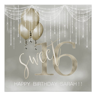 String Lights & Balloons Sweet 16 Champagne ID473 Poster