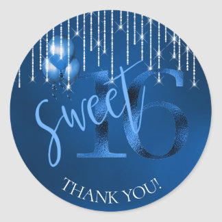String Lights & Balloons Sweet 16 Dk Blue ID473 Classic Round Sticker