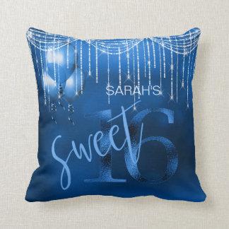 String Lights & Balloons Sweet 16 Dk Blue ID473 Cushion
