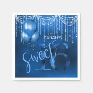 String Lights & Balloons Sweet 16 Dk Blue ID473 Disposable Serviettes