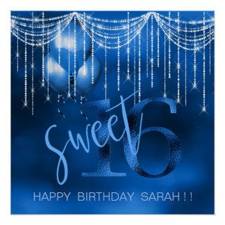 String Lights & Balloons Sweet 16 Dk Blue ID473 Poster