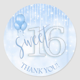 String Lights & Balloons Sweet 16 Lt. Blue ID473 Classic Round Sticker