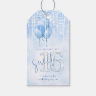 String Lights & Balloons Sweet 16 Lt. Blue ID473 Gift Tags