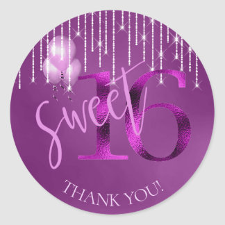 String Lights & Balloons Sweet 16 Orchid ID473 Classic Round Sticker