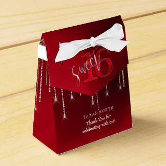 String Lights & Balloons Sweet 16 Red ID473 Favour Box