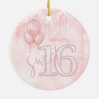 String Lights & Balloons Sweet 16 Rose Gold ID473 Ceramic Ornament