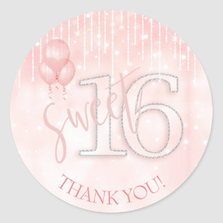 String Lights & Balloons Sweet 16 Rose Gold ID473 Classic Round Sticker