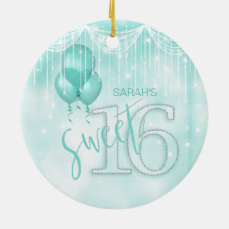 String Lights & Balloons Sweet 16 Teal ID473 Ceramic Ornament