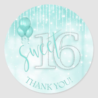 String Lights & Balloons Sweet 16 Teal ID473 Classic Round Sticker