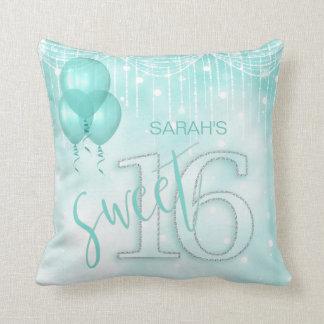 String Lights & Balloons Sweet 16 Teal ID473 Cushion