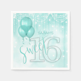 String Lights & Balloons Sweet 16 Teal ID473 Disposable Serviettes
