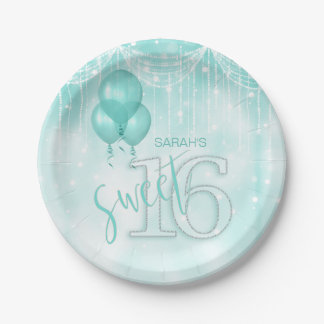 String Lights & Balloons Sweet 16 Teal ID473 Paper Plate