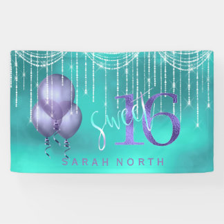 String Lights & Balloons Sweet 16 TealPurple ID473 Banner