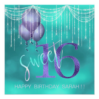 String Lights & Balloons Sweet 16 TealPurple ID473 Poster