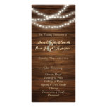 String lights barn wood wedding program personalized rack card