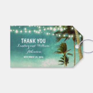 String Lights Beach Palms Ombre Teal Wedding Gift Tags