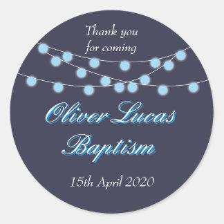 String Lights Blue Baptism Christening Favor Classic Round Sticker