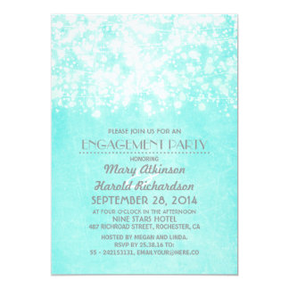 string lights blue engagement party card