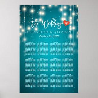 String Lights Blue Glitter Wedding Seating Chart