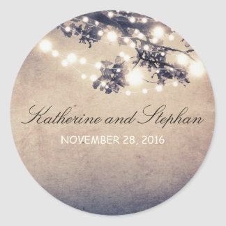String Lights Branches Rustic Wedding Classic Round Sticker