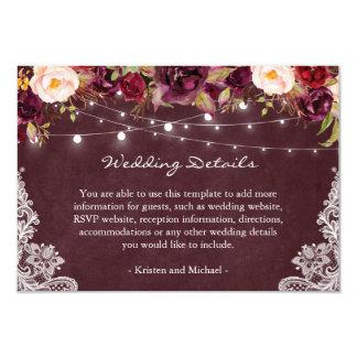 String Lights Burgundy Floral Lace Wedding Details Card