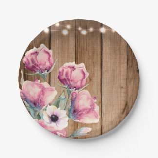 String Lights & Country Flowers Rustic Barn Wood Paper Plate