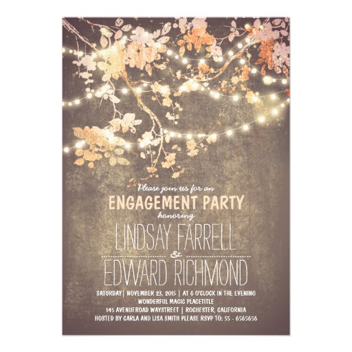 String lights cute and fancy engagement party personalized invitations