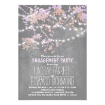 String lights cute and fancy engagement party custom invite