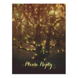 string lights forest trees RSVP postcards