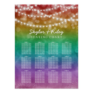 String Lights Gay Wedding Seating Chart 12 Tables