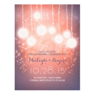 string lights glitter lanterns pink save the date postcard