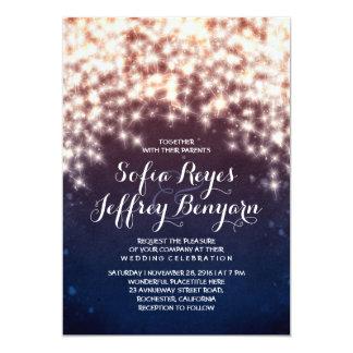 String lights glitter navy wedding invitations