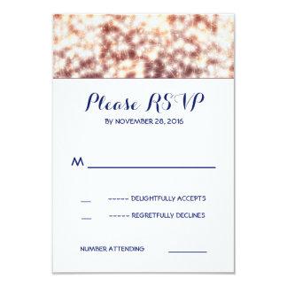 String lights glitz wedding RSVP cards