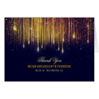 String Lights Gold and Navy Wedding Thank You Card