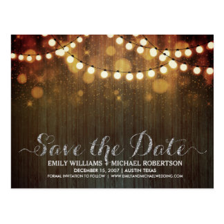 String lights gold bokeh save the date postcard