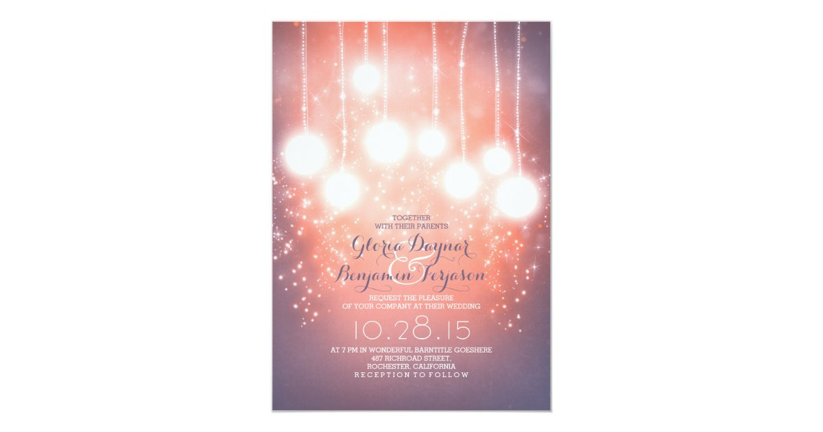 string lights & lanterns blush pink wedding invite Zazzle