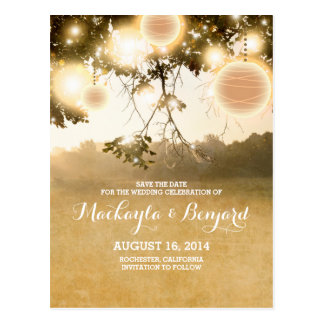 String lights & lanterns romantic save the date postcard