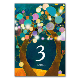 String Lights Love Trees Teal Wedding Table Number