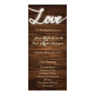 String lights Love wedding program Rack Card