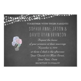 String Lights Mason Jar Chalkboard Wedding Invite