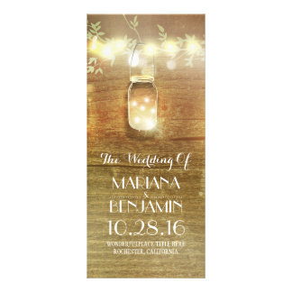 string lights mason jar rustic wedding programs full colour rack card