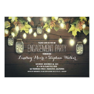 string lights mason jars fall engagement party 13 cm x 18 cm invitation card
