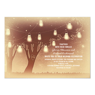 String lights mason jars tree rustic wedding card