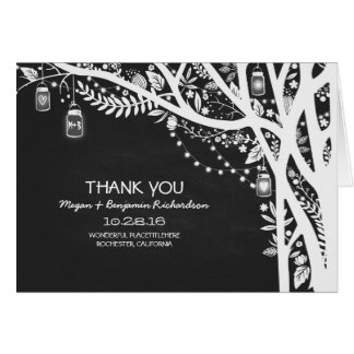 String lights mason jars tree wedding thank you card