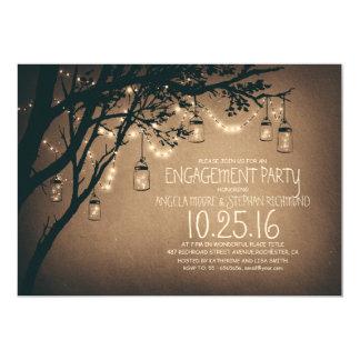 string lights mason jars vintage engagement party 13 cm x 18 cm invitation card