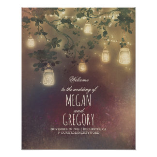 String Lights Mason Jars Wedding Welcome Sign Poster
