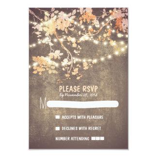 "String lights modern rustic wedding RSVP cards 3.5"" X 5"" Invitation Card"