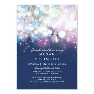 String Lights Navy Bridal Shower Card