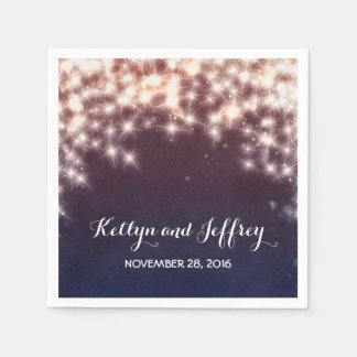 String Lights Navy Wedding Disposable Napkin