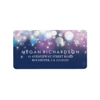 String Lights Navy Wedding Label
